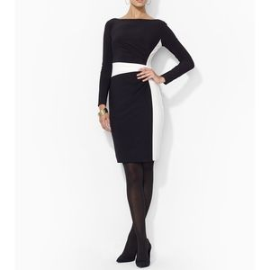 NWT! LRL Colorblock Jersey Sheath Dress